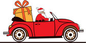 Santa driving his car with very large present — Stock Vector