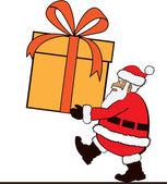 非常に大きなプレゼントを運ぶサンタ — ストックベクタ