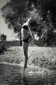 Dancing outdoor — Stock Photo