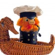 Stock Photo: Souvenir. captain in swimming by ship-duck.