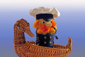 Souvenir. The captain in swimming by the ship-duck — Stock Photo