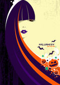Halloween czarownica kobieta — Wektor stockowy