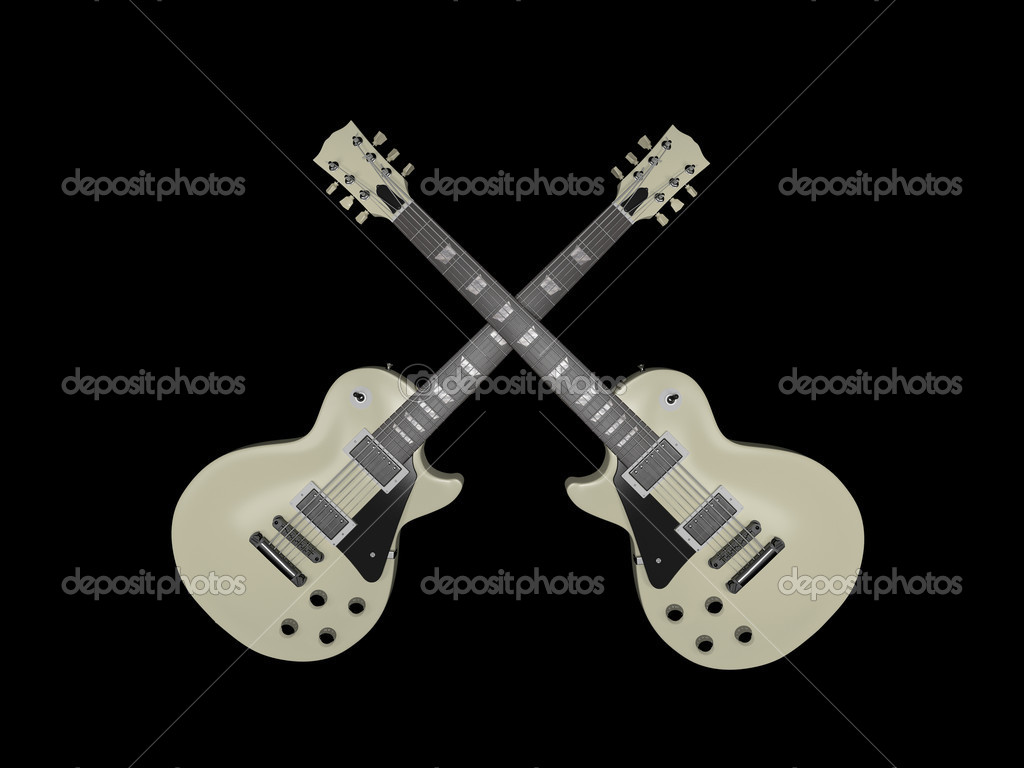 Electric guitars isolated on black background — Stock Photo #7324724
