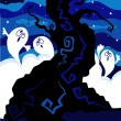 Vector Halloween card with ghosts. — Stockvector #7324547