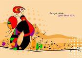 Vector illustration of a girl in style of avant-garde. — Stock Vector