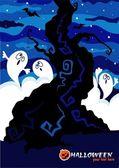 Tarjeta de halloween con los fantasmas del vector. — Vector de stock