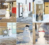 Snowman collage. — Stock Photo