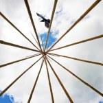 ������, ������: Wide angle tee pee frame with raven conceptual image