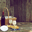 Rustic picnic for two. - Stock Photo