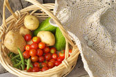 Closeup basket with fresh vegetables. — Stock Photo