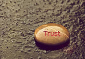"Inspirational stone with ""Trust""on thin ice. — Stock Photo"