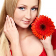 Young lady with red gerbera — Stock Photo