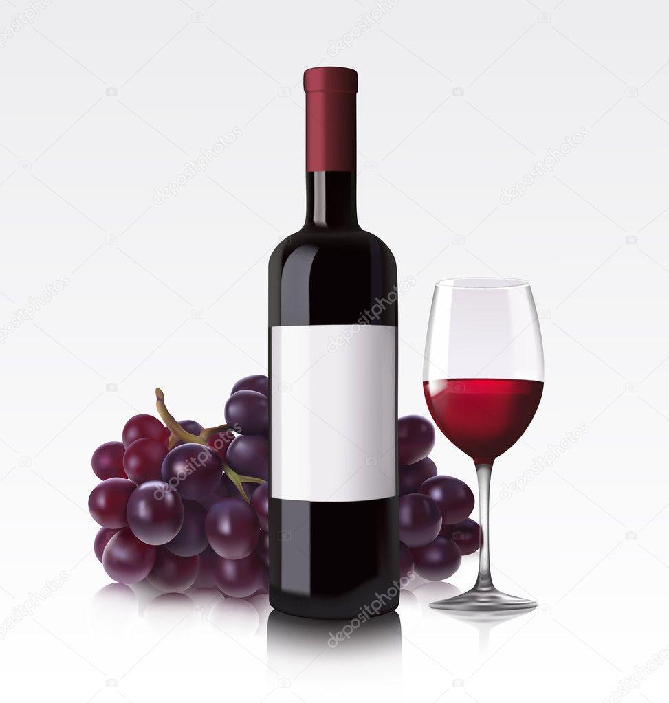 Red wine bottle glass and grape stock vector v for Wine bottle glass