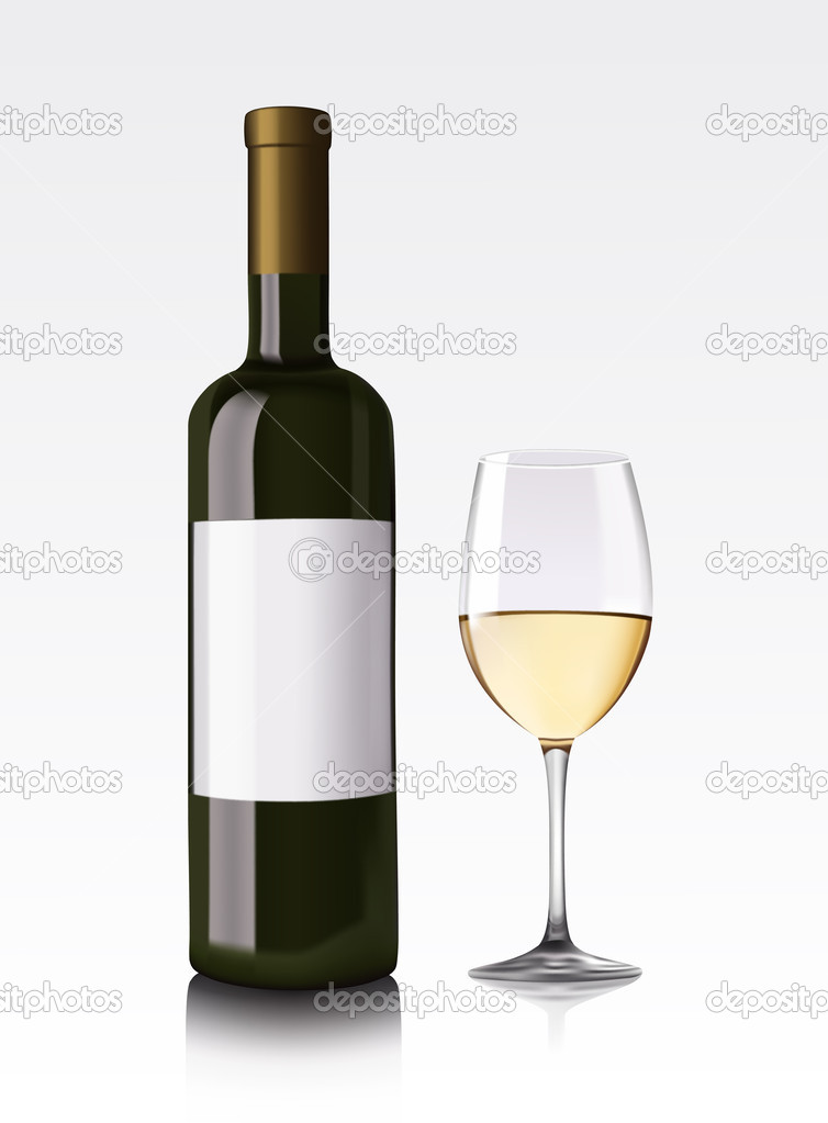 Vector illustration of white wine bottle and glass — Stock Vector #7880786