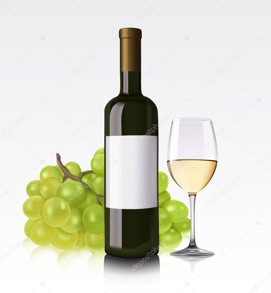 Vector illustration of white wine bottle, glass and grape — Stock Vector #7880793