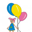 Royalty-Free Stock Vector Image: Girl with balloons