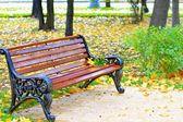 秋の休日の公園のベンチ — ストック写真