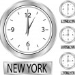 Clock showing the time in New York, Moscow, London and Tokyo — Stock Vector #6757544
