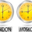 Clock showing the time in New York, Moscow, London and Tokyo — Stock Vector