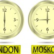 Clock showing the time in New York, Moscow, London and Tokyo — Imagen vectorial