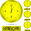 Clock showing the time in New York, Moscow, London and Tokyo — Stock Vector #6757555