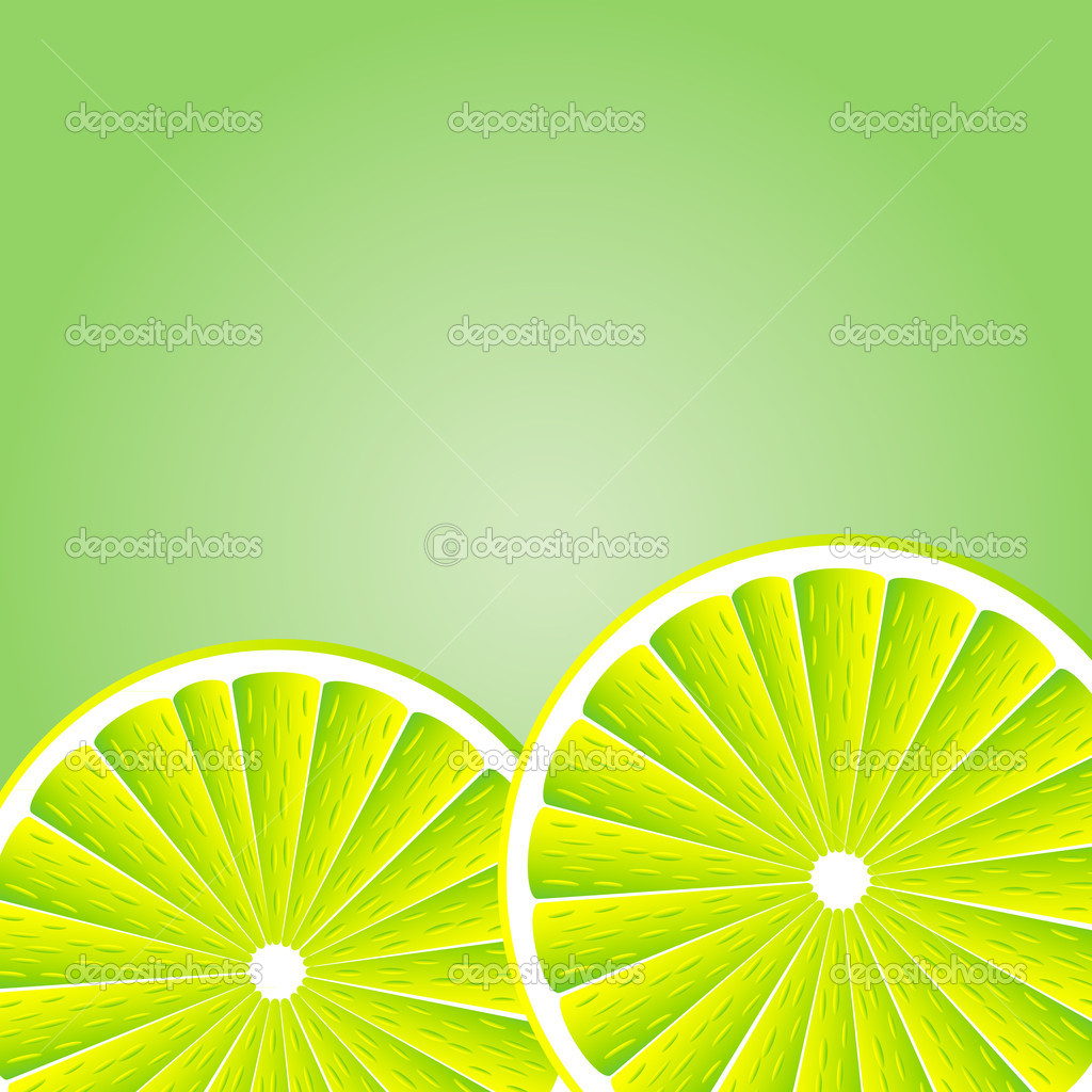 Slices lemon over green white background. illustration — Stock Vector #6811769