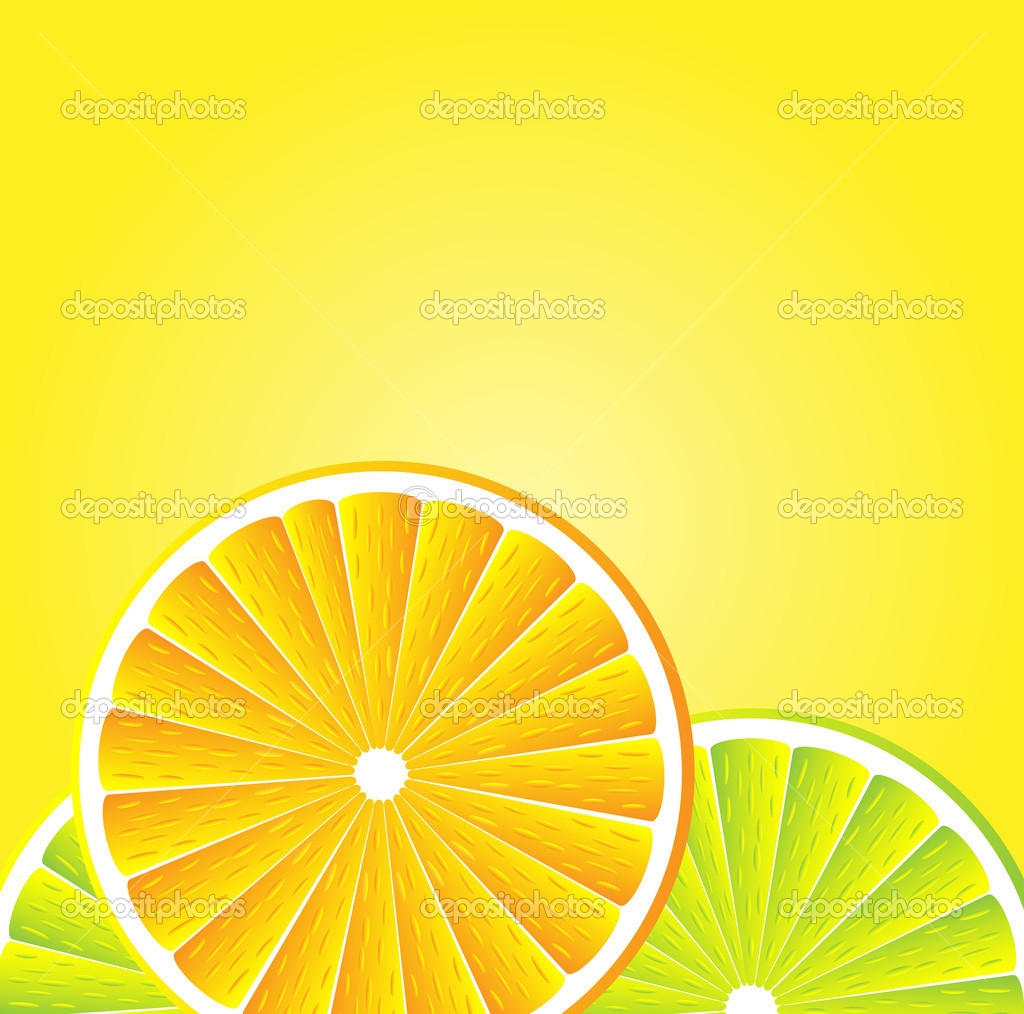 Slices orange and lemon over yellow white background. illustration — Stock Vector #6811786