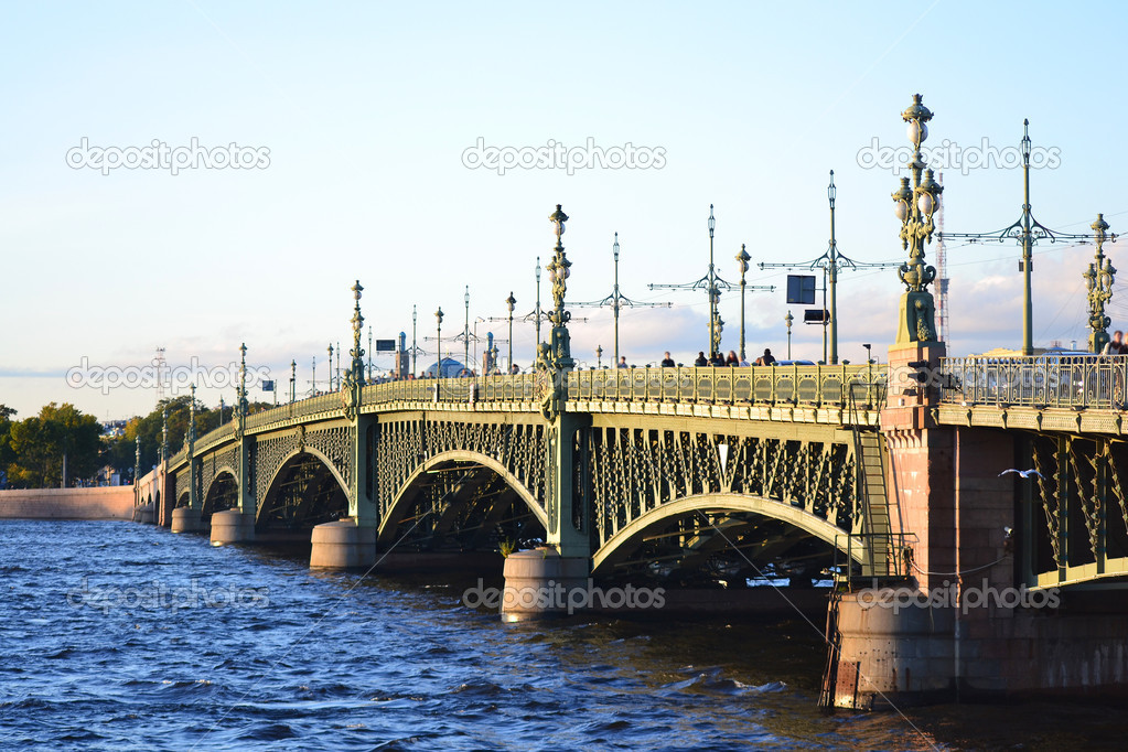 View of the Trinity bridge over the Neva River in St.Petersburg, Russia  Stock Photo #6877334