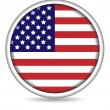 Stock Vector: American flag button