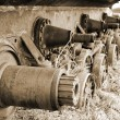 Tank caterpillar. Sepia. — Stock Photo