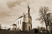 Old church in Zaslavl. Sepia. — Stock Photo