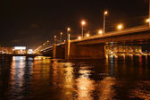 Night view of Volodarsky bridge in St Petersburg — Stock Photo