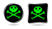 Two buttons with Jolly roger — Stock Vector