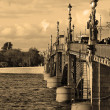 Stock Photo: Trinity Bridge in St.Petersburg. Sepia