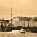 Water transport in Saint Petersburg. Sepia — Stock Photo