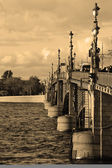 Trinity Bridge in St.Petersburg. Sepia — Stock Photo
