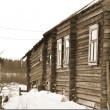 Fragment of house in Russian village. Sepia. - Stock Photo