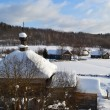 Winter view of small russian village - Stock Photo