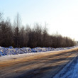 Empty road in country, Russia, winter. - Stock Photo