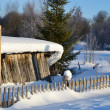 Fence in the snow - Stock Photo