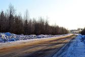 Empty road in country, Russia, winter. — Stock Photo