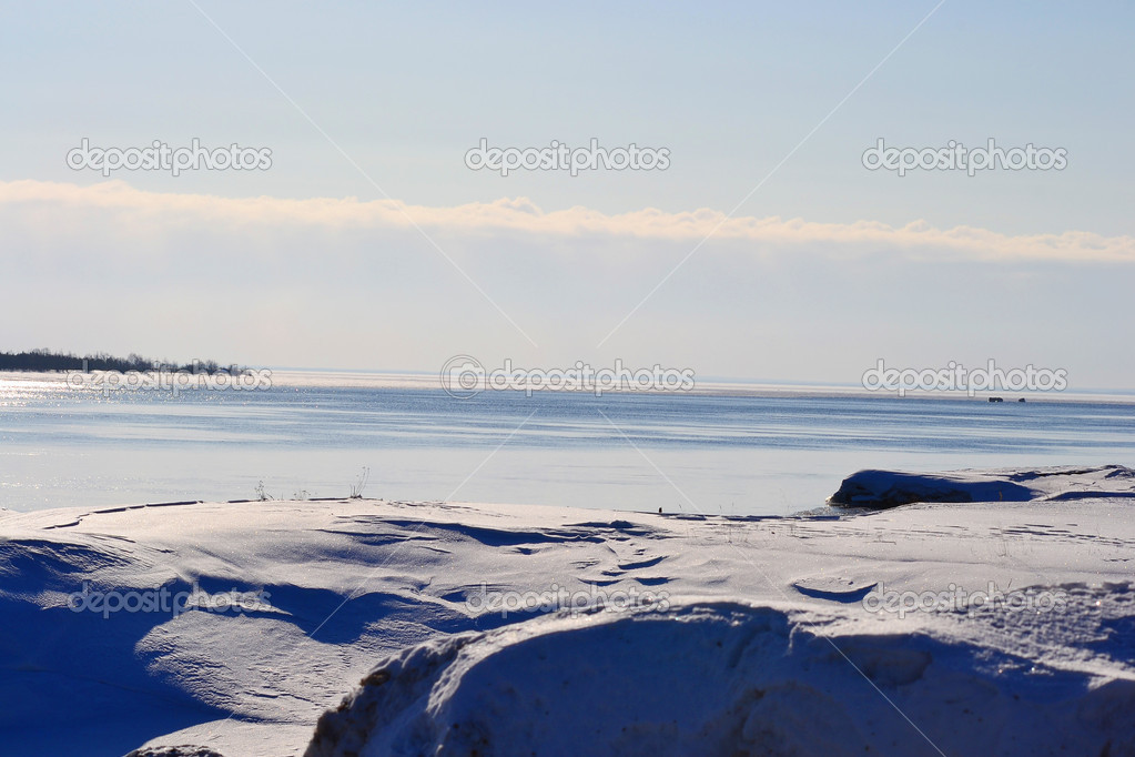 View of Svir river at winter sunny day, Russia.  Stock Photo #7188687