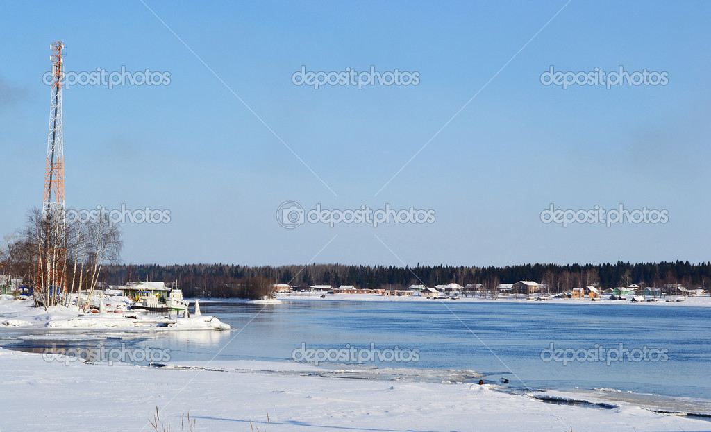 View of Svir river at winter sunny day, Russia. — Stock Photo #7188735