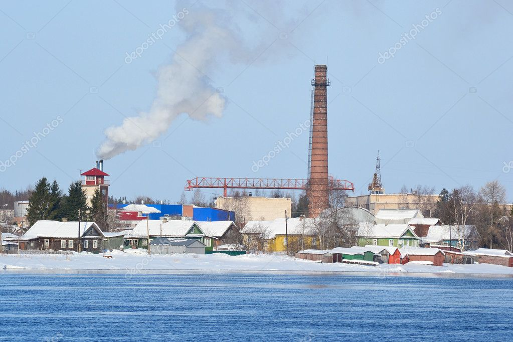 View of Voznesenje town and Svir river in sunny winter day, Russia  Stock Photo #7188930