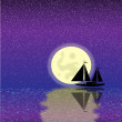 Black ship silhouette on sea at night — Stock Vector #7208916