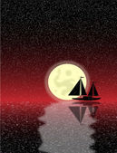 Black ship silhouette on sea at night — Stock Vector