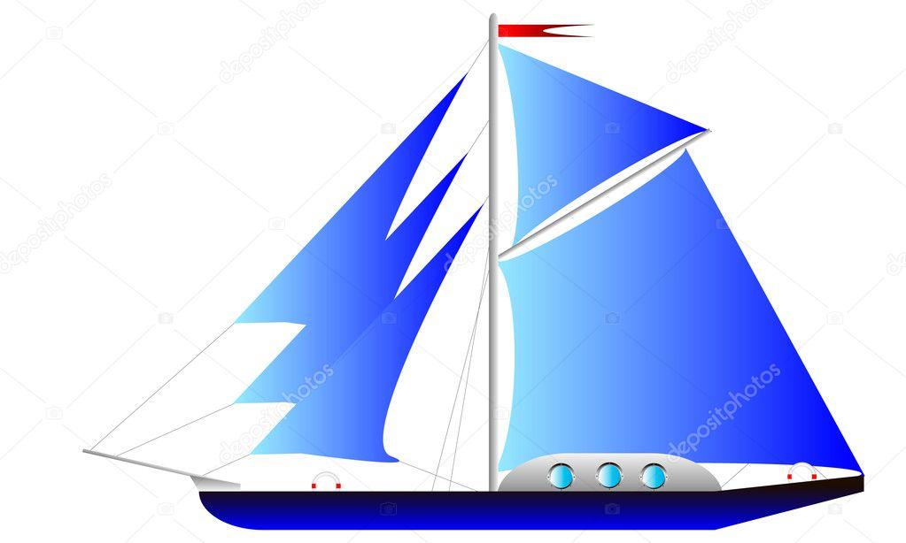 Yacht isolated on white background - vector  illustration . — Stock Vector #7218917