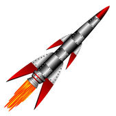Starting military rocket — Stock Vector
