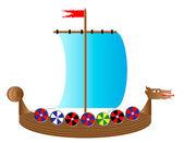 Vikingschip op wit — Stockvector