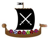 Viking gemisi beyaz — Stok Vektör